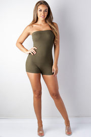 Women's olive tube Basic Romper-KNOWSTYLE