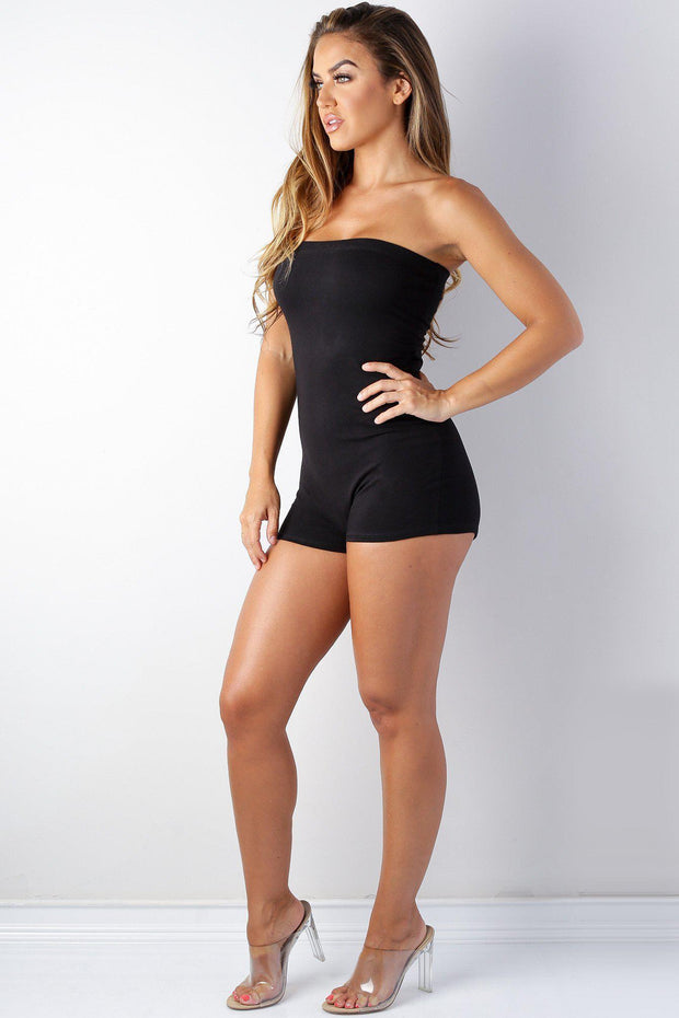 Women's black tube Basic Romper-KNOWSTYLE