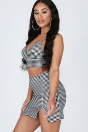 Flyin' Up Check Bustier Crop Top & Skirt Set-KNOWSTYLE