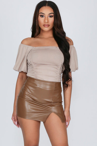 Forever 17 Ruched Puff Sleeve Bodysuit-S-Taupe-KNOWSTYLE