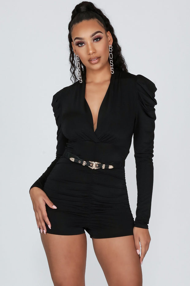 Fun Time Surplice Puff Shoulder Ruched Romper-S-Black-KNOWSTYLE