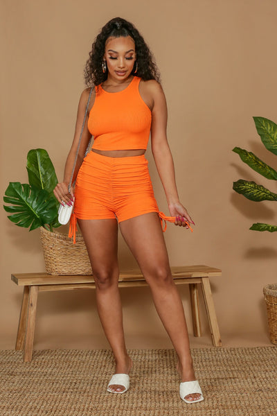 Hit The Lights Ribbed Crop Top & Ruched Shorts SET-Small-Orange-KNOWSTYLE