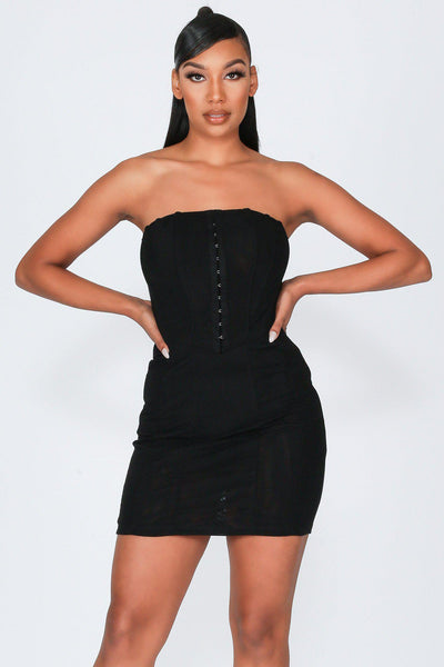 It's You Sheer Mesh Tube Mini Dress-S-Black-KNOWSTYLE