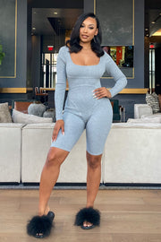 Women's HeatherGrey Ribbed Knit Romper-KNOWSTYLE
