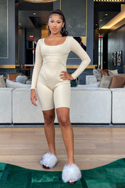 Women's LightTaupe Ribbed Knit Romper-KNOWSTYLE