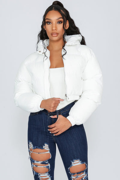 Nineteen Again Hoodie Crop Puffer Jacket-S-White-KNOWSTYLE