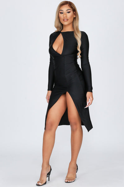 Now or Never Surplice Front Cut-out Midi Dress-KNOWSTYLE
