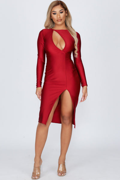 Now or Never Surplice Front Cut-out Midi Dress-S-Burgundy-KNOWSTYLE