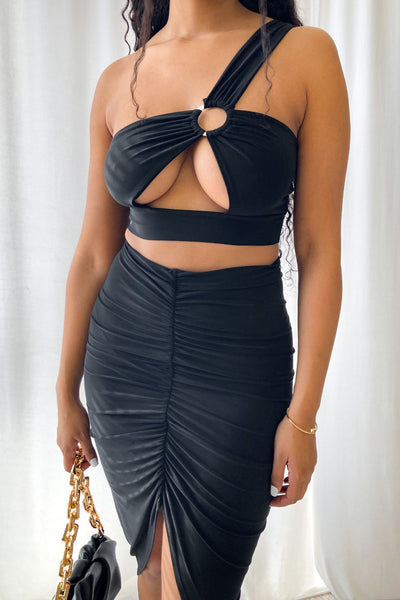 O Ring Cut Out One Shoulder Top & Ruched Skirt SET-Small-Black-KNOWSTYLE