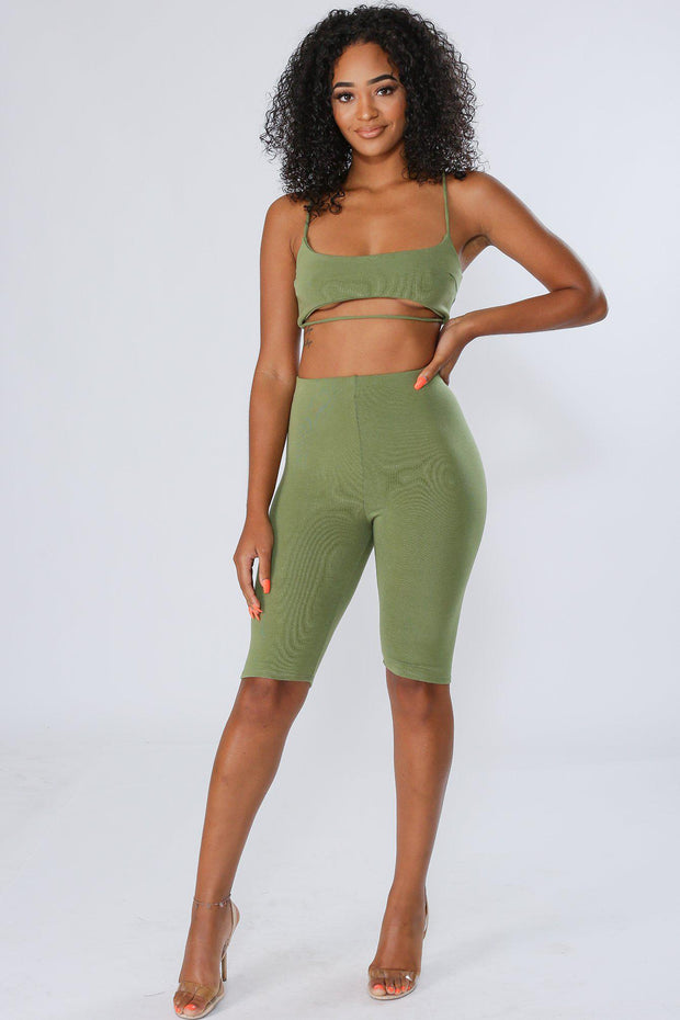 Under The City High Waisted Shorts-S-Olive-P10436-KNOWSTYLE