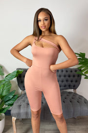 Women's DustyPink One Shoulder Romper-KNOWSTYLE