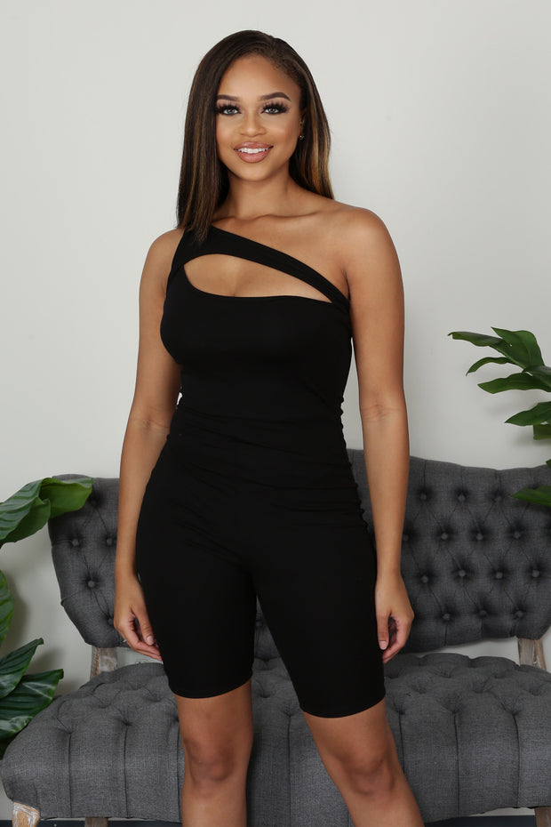 Women's black One Shoulder Romper-KNOWSTYLE