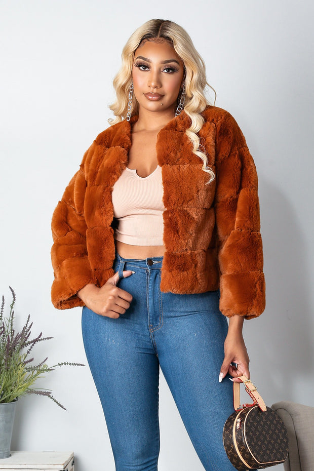 Saturday Night Faux Fur Coat-S-Rust-KNOWSTYLE