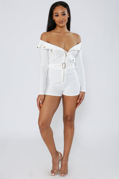 Sound Of Love Zip Up Romper-S-White-KNOWSTYLE