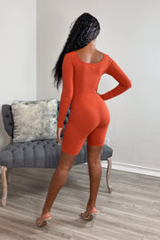 Women's Rust Long Sleeve Ribbed Romper-KNOWSTYLE