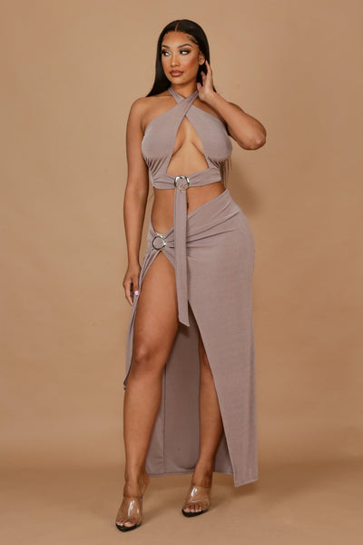 Vacay Dreaming Halter Top & Deep Slit Maxi Skirt SET-Small-Taupe-KNOWSTYLE
