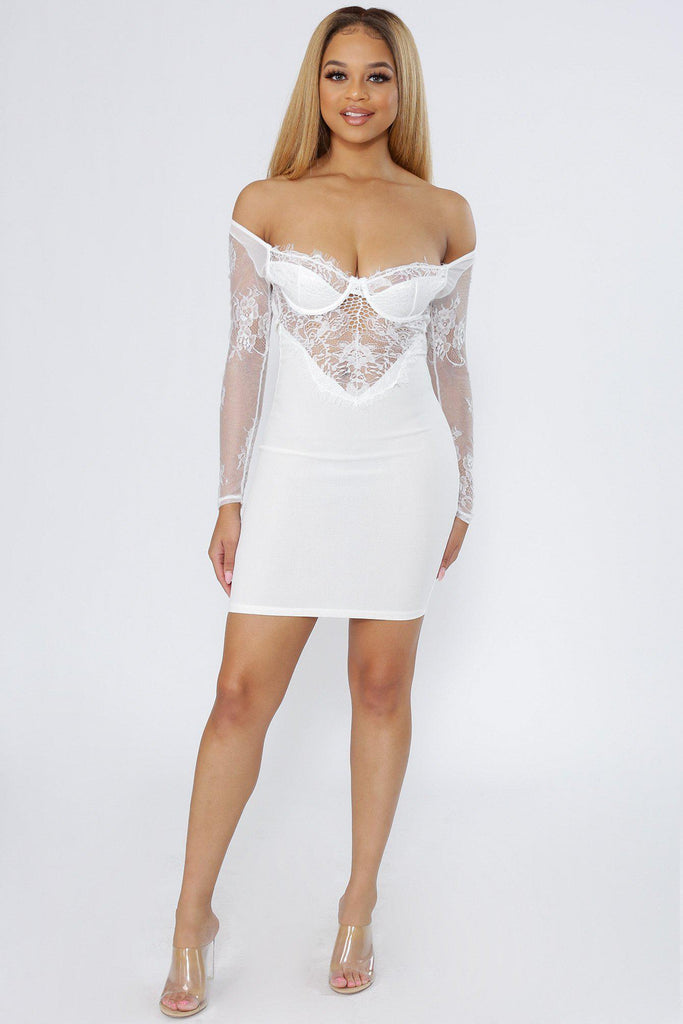 With Love Lace Off The Shoulder Bustier Dress