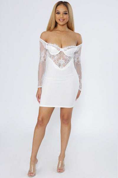 With Love Lace Off The Shoulder Bustier Dress-S-White-DC24353-KNOWSTYLE
