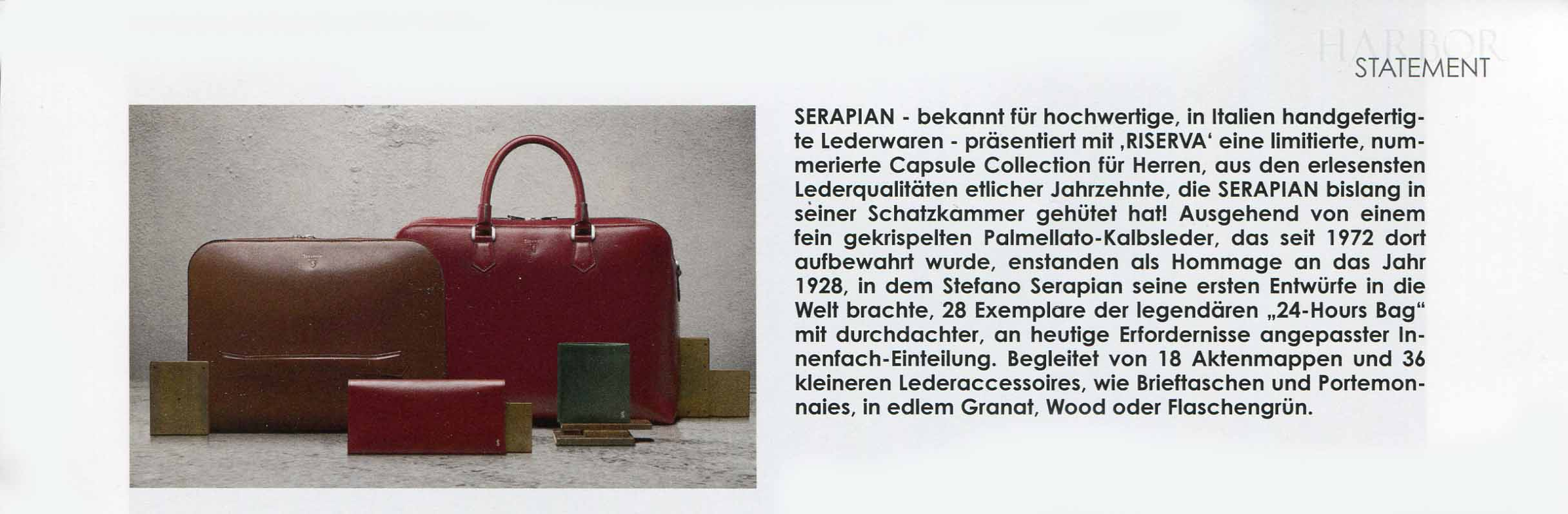 Serapian Capsule Collection Riserva sul magazine Harbor