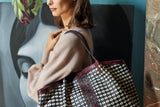 Secret Bag, nappa di agnello e pelle di vitello Mosaico con inserti in Elaphe ##Bianco/Nero/Claret