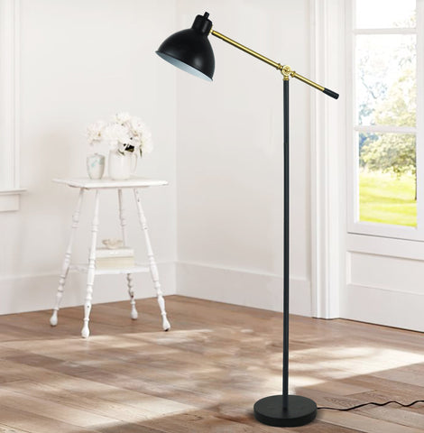 Ashford Floor Lamp Adjustable Pharmacy Style Black with Brass Accents
