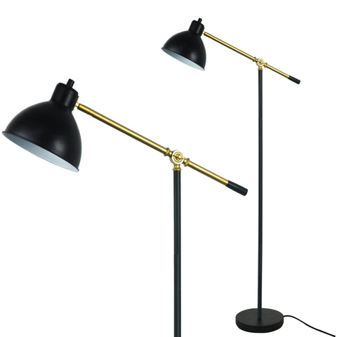 Ashford Floor Lamp Cantilever Standing Adjustable Pharmacy Style Reading Light Black with Brass Accents