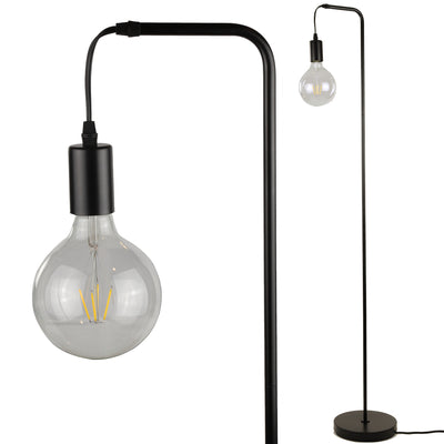 Thomas Floor Lamp - Industrial Standing Lamp with G125 Decorative LED Bulb Included (Black)