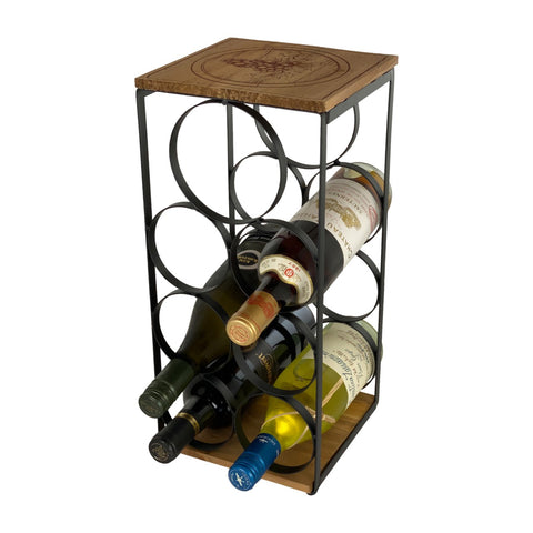 Iron And Wood 7 Bottle Wine Rack – Wine Stand – Wine Bottle Holder