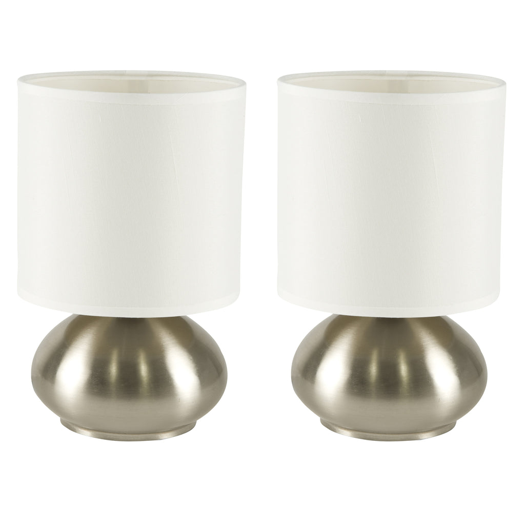 Bedroom Table Lamp With On Off Touch Sensor 2 Pack Brushed Nickel