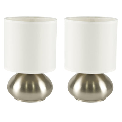 Light Accents Bedroom Side Table Lamps with 3-way Switch Brushed Nickel (Set of 2) - LightAccents.com  - 1