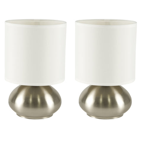 Light Accents Bedroom Side Table Lamps with 3-way Switch Brushed Nickel (Set of 2)
