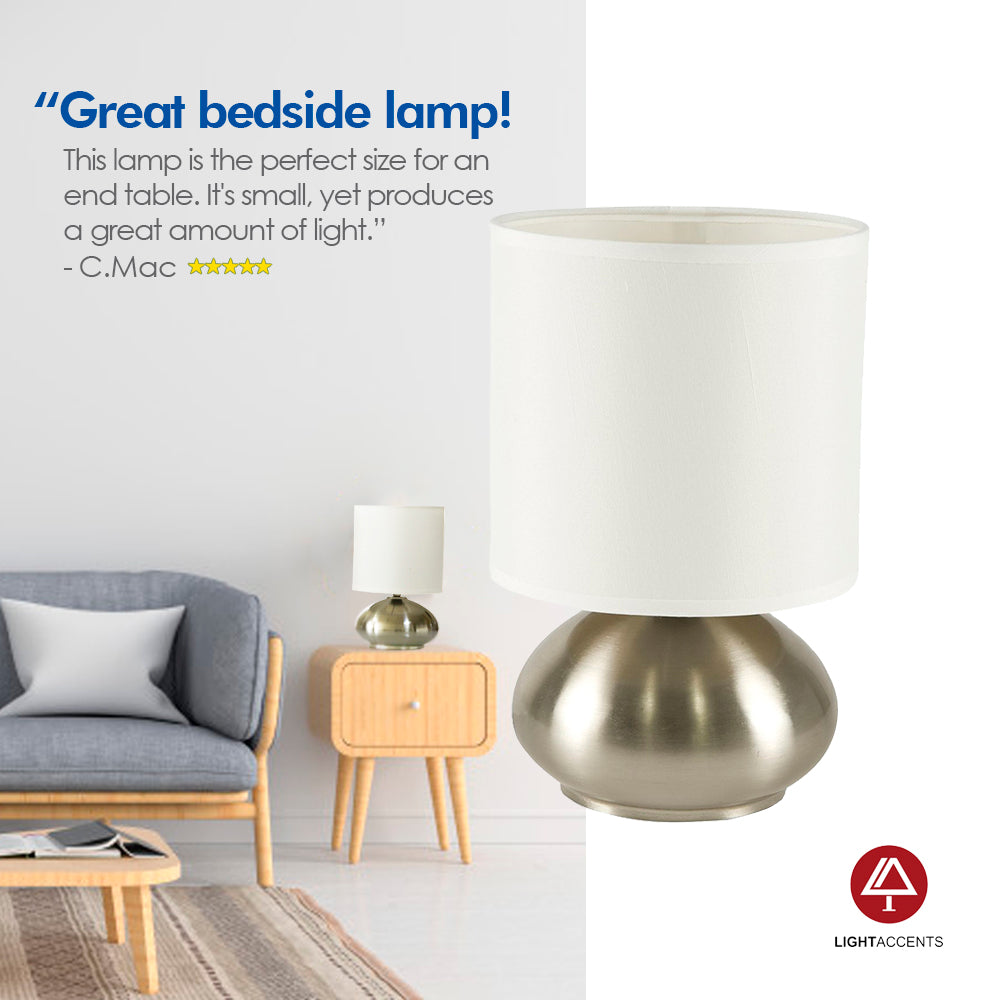 Bedroom Table Lamp with On/ Off Touch Sensor 2-Pack (Brushed ...