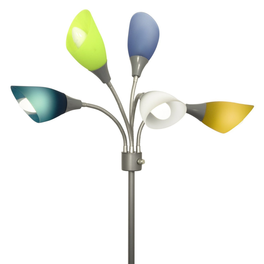 Home design medusa silver floor lamp with multicolor acrylic shades shade replacement set of 5 multicolored acrylic shades lightaccents 2 mozeypictures Image collections
