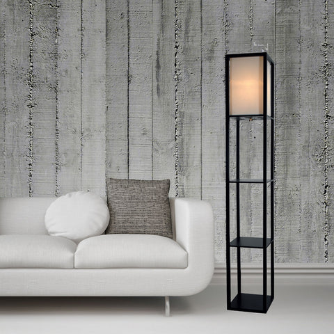 Floor Lamp with Shelves and White Cotton Linen Shade (Black) OPEN STOCK RECONDITIONED