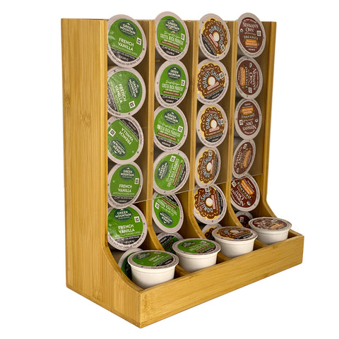 Coffee Pod Holder Bamboo - Coffee Pods Organizer For Coffee Station - Coffee Storage - Organizer For Counter Top Coffee Pod Holder Rack