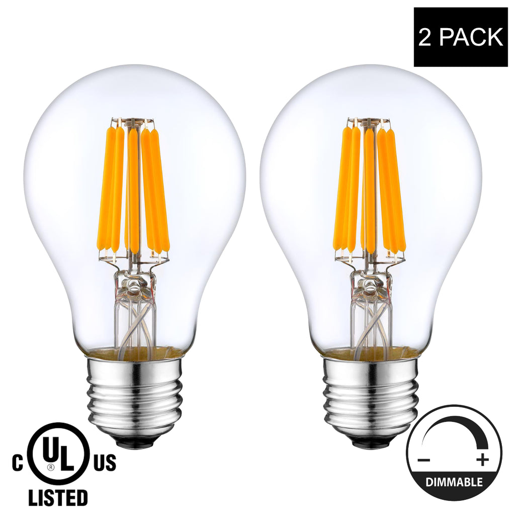 LED Filament Light Bulb A19, 8W (60W Equivalent), 800 lumens, 2700K (Warm White),(E26) UL-Listed – (Pack of 2)