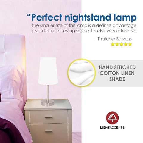 Bedside Table Lamp with Linen Lamp Shade by Light Accents Model 16270