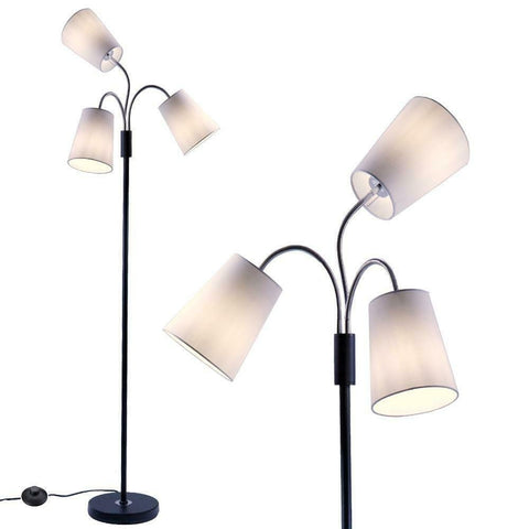 3 Light Adjustable Floor Lamp with Fabric Lamp Shades OPEN BOX