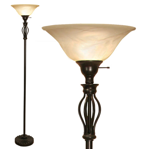 Floor Lamp Iron Scrollwork Bronze with Amber Glass Shade OPEN BOX