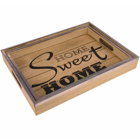 Decor Works Wooden Serving Trays with Metal Trim (Set of 2)