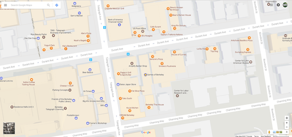 (All those little yellow dots indicate restaurants/cafes within a 1-block radius of GoB.)