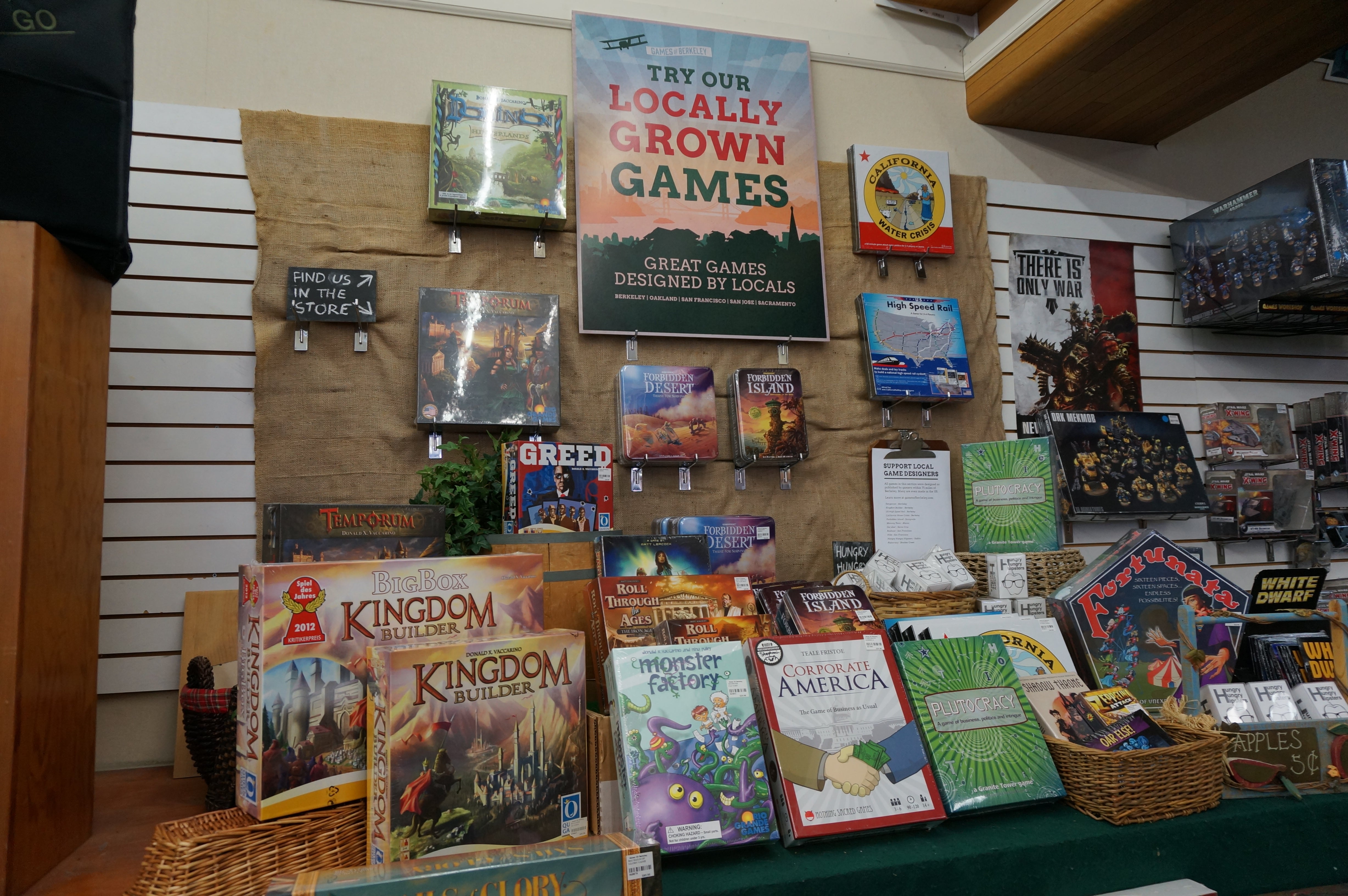 Locally Grown Games Display at Games of Berkeley