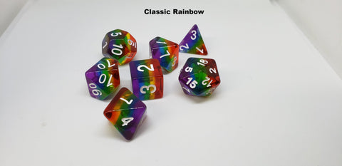 Rainbow Layered Dice Sets