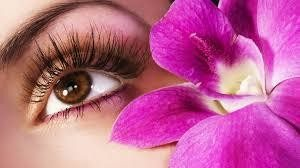 Woman's eyelashes with 3D volume extensions