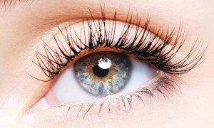 Woman's eye with eyelash extensions