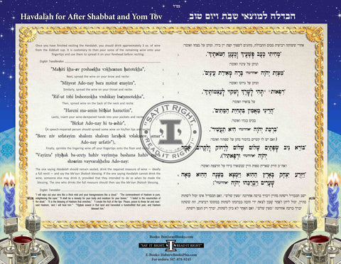 Havdallah Translated&Transliterated and laminated in Hebrew/English