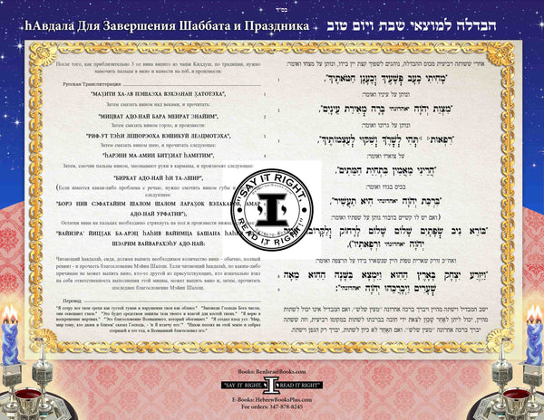 Havdallah in Hebrew - Russian Transliteration and Translation (Horizontal) laminated