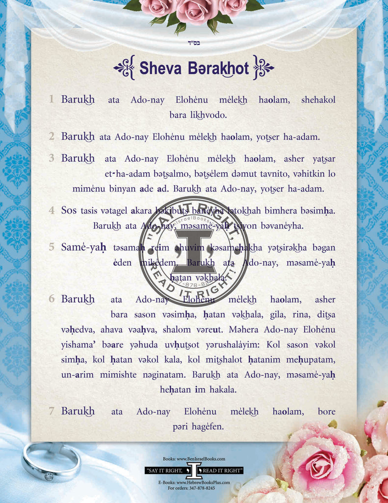 Sheva Berachot Transliterated and laminated in English
