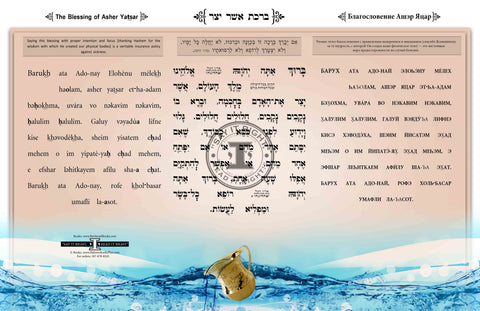 Asher Yatsar (Horizontal) 3 Lingual Transliteration in Hebrew/Russian/English