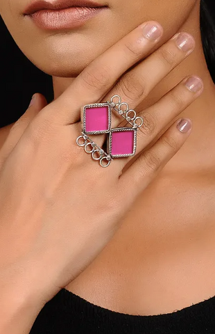 Double Rhombus Ring - 925 Silver